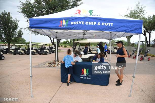 General view of the registration table during the 2021 Drive, Chip and Putt Regional Qualifier at TPC Scottsdale on September 26, 2021 in Scottsdale,...