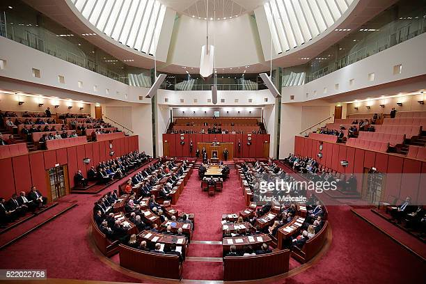 A general view of the reopening of Parliament in the Senate chamber at Parliament House on April 18 2016 in Canberra Australia Parliament has resumed...