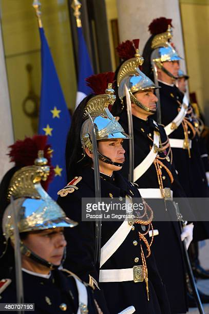 A general view of the Republican honor guard of the Elysee Palace prior to an official dinner hosted by French President Francois Hollande as part of...
