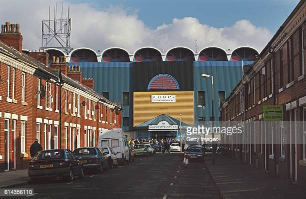 A general view of the residential area around Maine Road home of Manchester City before an FA Carling Premiership match between Manchester City and...