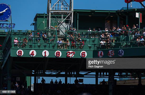 A general view of the retired jersey numbers for the Boston Red Sox during a game against the Philadelphia Phillies at Fenway Park on September 6...