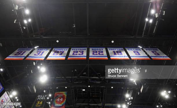 General view of the retired New York Islanders jerseys in the rafters prior to the game against the Tampa Bay Lightning in Game Six of the NHL...