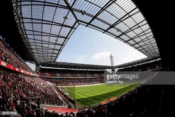 General view of the RheinEnergie stadium is seen during the second Bundesliga match between 1. FC Koeln and SV Wehen-Wiesbaden at the RheinEnergie...