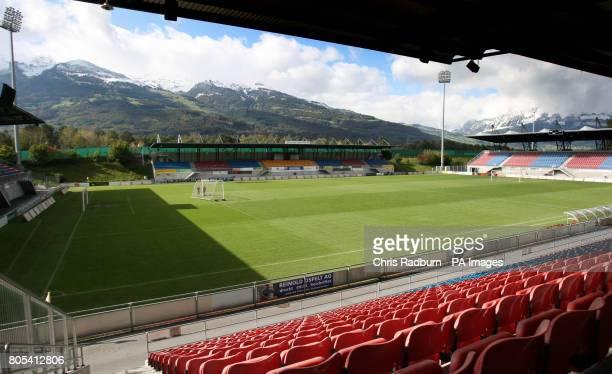 General view of the Rheinpark Stadium, Vaduz. Wales take on Liechtenstein in a FIFA World Cup Qualifying match on Wednesday.