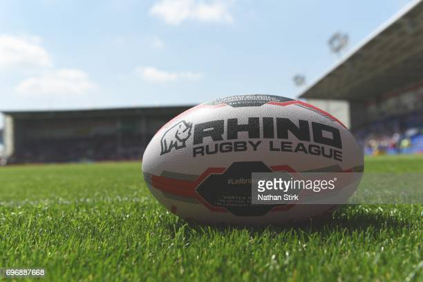 General view of the Rhino Rugby League ball before the Ladbrokes Challenge Cup QuarterFinal match between Warrington Wolves and Wigan Warriors at...