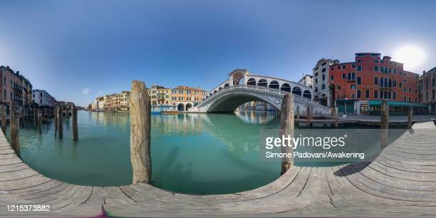 General view of the Rialto bridge from a pier as lockdown continues due to the coronavirus outbreak on March 28, 2020 in Venice, Italy. The Italian...