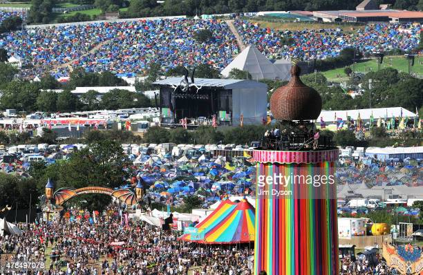 A general view of the ribbon tower in front of the Pyramid stage and the Other stage at the Glastonbury Festival at Worthy Farm Pilton on June 25...