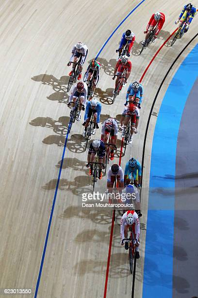 A general view of the riders as they compete in the Men's Omnium Points Race 44 during the Tissot UCI Track Cycling World Cup 20162017 held at the...