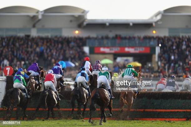 A general view of the riders during the St James's Place Foxhunter Challenge Cup Open Hunters' Chase at the Cheltenham Festival at Cheltenham...