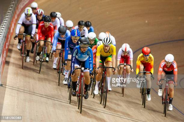 A general view of the riders in action during the Women's Omnium Scratch Race 14 at the Sir Chris Hoy Velodrome on day two of the UCI Track Cycling...