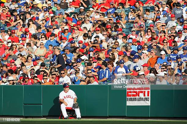 A general view of the right field line during the MLB game between the Los Angeles Dodgers and the Los Angeles Angels of Anaheim at Angel Stadium of...