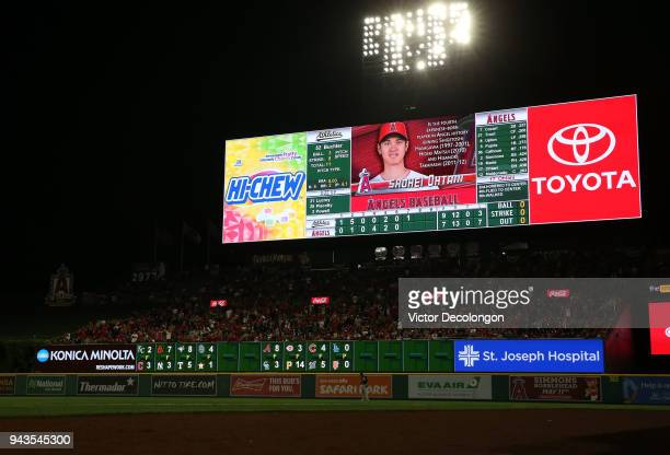 A general view of the right field scoreboard is seen displaying Shohei Ohtani of the Los Angeles Angels of Anaheim during the seventh inning of the...