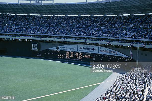A general view of the rightfield scoreboard displaying a welcome for President John F Kennedy prior to the Major League Baseball AllStar Game on July...