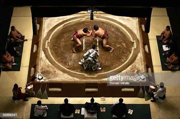 A general view of the Rikishi competing under the Dohyo as the Gyoji officiates during the Grand Sumo Championship on October 9 2005 at Mandalay Bay...