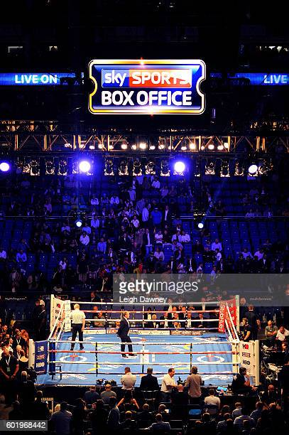 A general view of the ring ahead of the Callum Smith of Great Britain and Norbert Nemesapati of Hungary WBC Silver Super Middleweight title fight at...