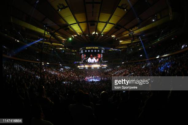 General View of the ring and the inside of Madison Square Garden as Anthony Joshua of England is introduced prior to the World Heavyweight...