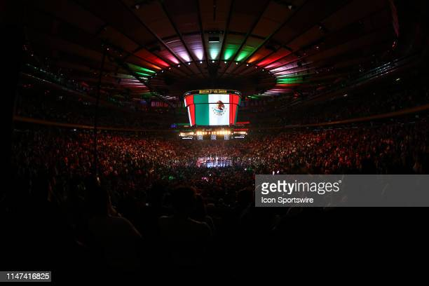 General View of the ring and the inside of Madison Square Garden during the Mexican National Anthem prior to the World Heavyweight Championship fight...
