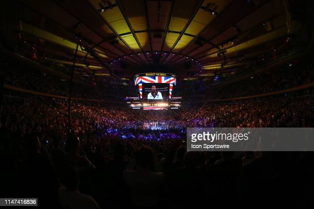 General View of the ring and the inside of Madison Square Garden during the British National Anthem prior to the World Heavyweight Championship fight...