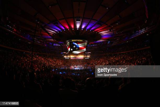 General View of the ring and the inside of Madison Square Garden during the United States National Anthem prior to the World Heavyweight Championship...