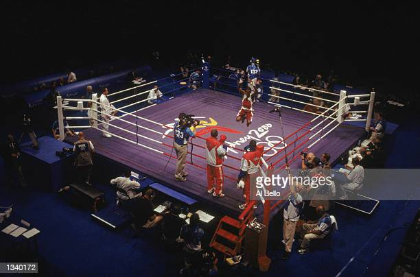 General view of the ring as Felix Savon of Cuba celebrates winning against Suiltanahmed Ibzagimov of Russia in the Men's 91kg Boxing Gold Medal bout...