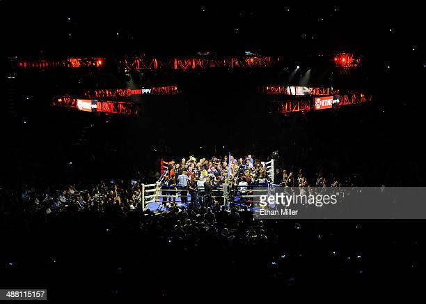 A general view of the ring as Floyd Mayweather Jr and Marcos Maidana are introduced before their WBC/WBA welterweight unification fight at the MGM...
