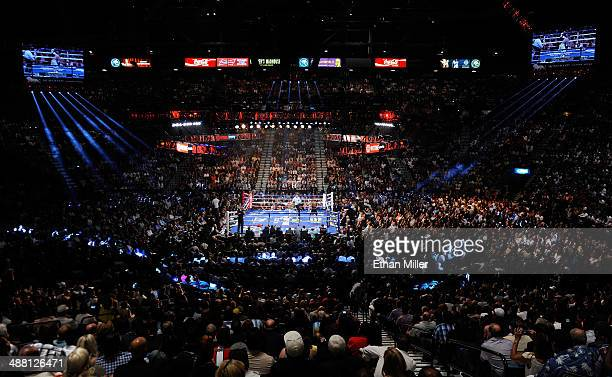 General view of the ring as Floyd Mayweather Jr. And Marcos Maidana battle during their WBC/WBA welterweight unification fight at the MGM Grand...
