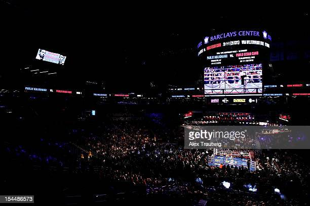 A general view of the ring as Paulie Malignaggi and Pablo Cesar Cano exchange punches during their WBA Welterweight title fight at the Barclays...