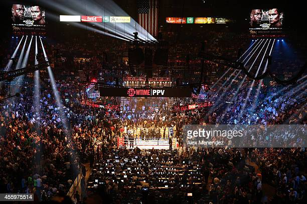 A general view of the ring before the Floyd Mayweather Jr v Marcos Maidana WBC/WBA welterweight title fight at the MGM Grand Garden Arena on...
