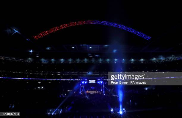 General view of the ring before the main event at Wembley Stadium London