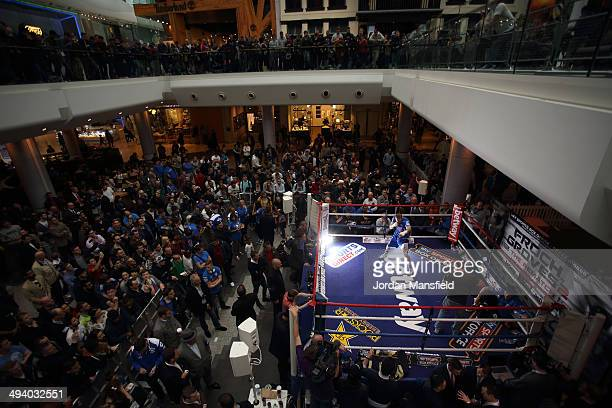 A general view of the ring during the George Groves Media Work Out at Westfield Shopping Centre Shepherds Bush on May 27 2014 in London England