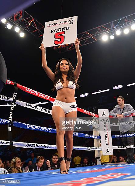 General view of the ring girl during the Iron Mike Judgement Day boxing match at AmericanAirlines Arena on July 10 2014 in Miami Florida