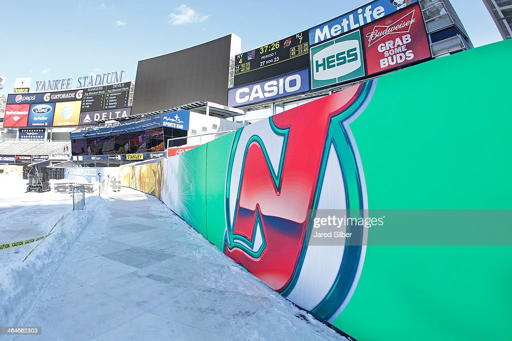General view of the rink build for the 2014 Coors Light Stadium Series Games at Yankee Stadium on January 23, 2014 in the Bronx borough of New York City. The games are scheduled to be played on Sunday, January 26, 2014 and Wednesday, January 29, 2014.