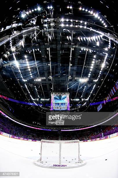 A general view of the rink prior to the Men's Ice Hockey Gold Medal match on Day 16 of the 2014 Sochi Winter Olympics at Bolshoy Ice Dome on February...