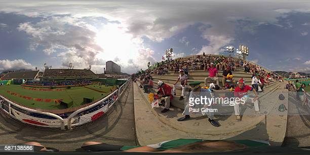 A general view of the Rio 2016 Olympic Games Women's Team competition at the Sambodromo archery venue on August 7 2016 in Rio de Janeiro Brazil