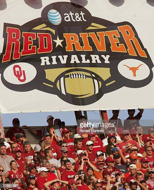 General view of the Rivalry banner hung above fans during the Red River Shootout between the Texas Longhorns and the Oklahoma Sooners at the Cotton...