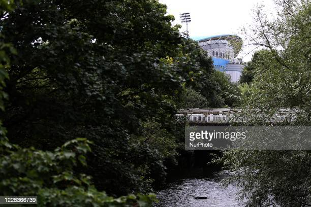 General View of the River Colne next to the John Smiths Stadium prior to the Carabao Cup 1st round match between Huddersfield Town and Rochdale at...