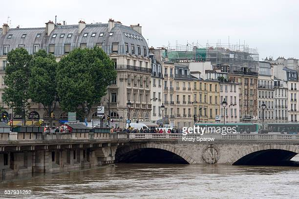 A general view of the river Seine following heavy rainfall that flooded the banks of the river on June 3 2016 in Paris France The rainswollen river...