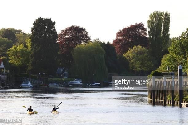 General view of The River Thames near where a juvenile minke whale was put down on May 10, 2021 in Teddington, England. The whale was first seen on...