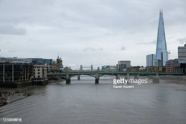 A general view of the river Thames with the city skyline seen from the Millenium Bridge on November 2 2019 in London United Kingdom