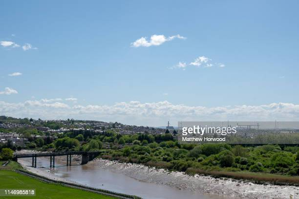 A general view of the River Usb and grassland on outskirts of Newport city centre on May 4 2019 in Newport United Kingdom
