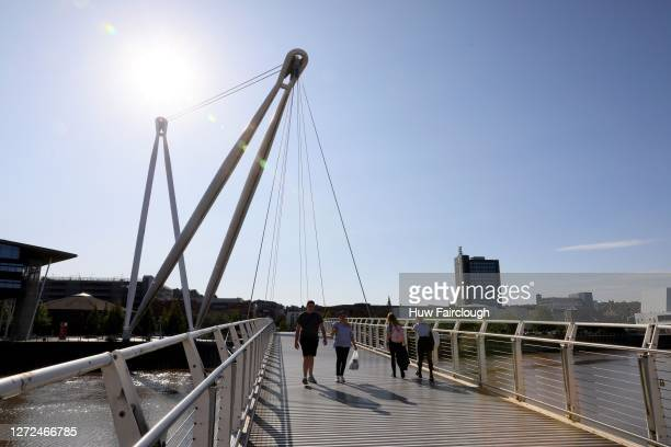 General view of the River Usk pedestrian Bridge, joining the City Centre to the East of the City on September 14, 2020 in Newport, United Kingdom.