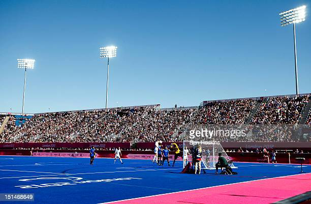 A general view of the Riverside Arena during the Men's 7aside football 58 place semifinal between Great Britain and Argentina on day 9 of the London...