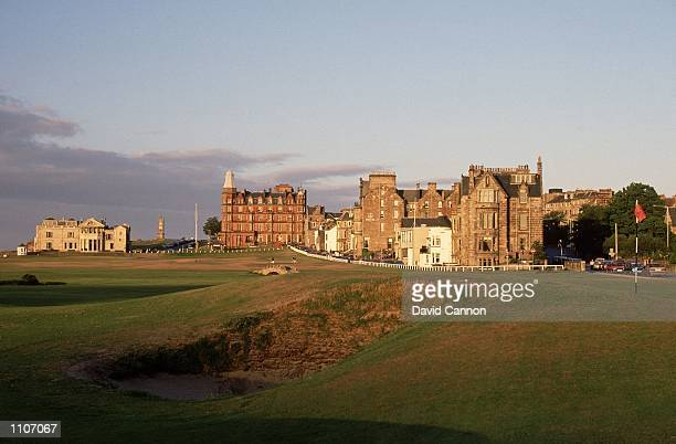 General view of the Road Bunker the 17th Road Hole green and the 18th fairway on the Old Course at St Andrews in Fife Scotland Mandatory Credit David...