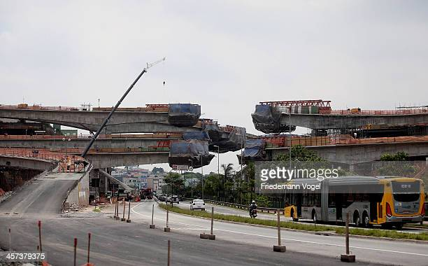 A general view of the road works at the Arena de Sao Paulo venue for the FIFA 2014 World Cup Brazil on December 16 2013 in Sao Paulo Brazil