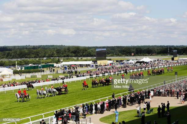 General view of the Roayl Procession during day two of Royal Ascot at Ascot Racecourse on June 18 2014 in Ascot England
