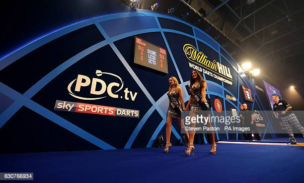 General view of the Roche girls during day fourteen of the William Hill World Darts Championship at Alexandra Palace London