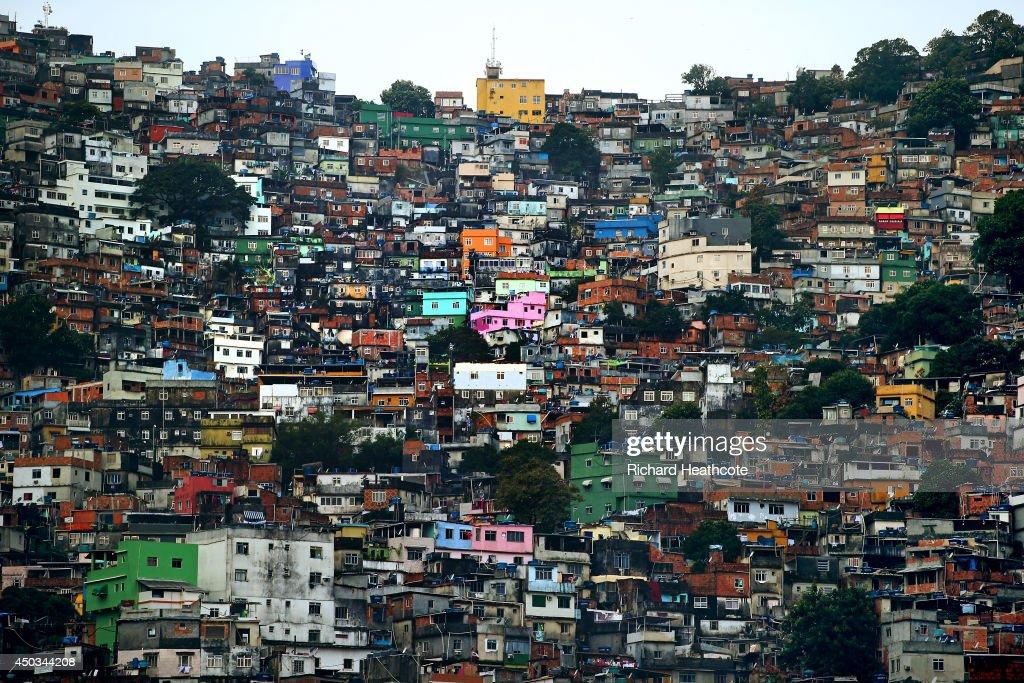 A general view of the Rocinha favela as the England team visit Complexo Esportivo da Rocinha on June 9, 2014 in Rio de Janeiro, Brazil.
