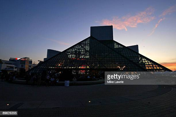 A general view of the Rock and Roll Hall of Fame and Museum as Chairlift performs on August 5 2009 in Cleveland Ohio