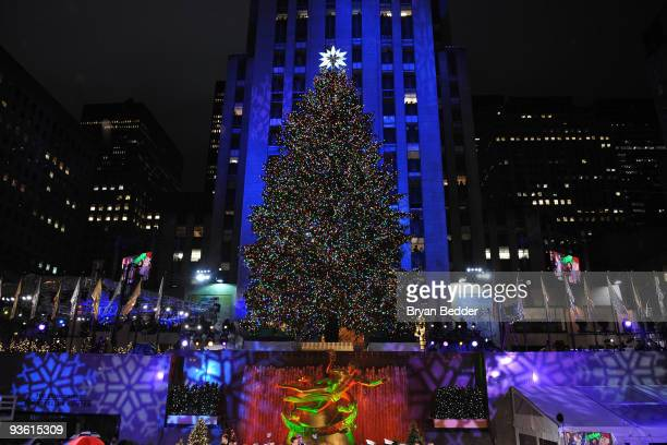 A general view of the Rockefeller Center Christmas tree lighting at Rockefeller Center on December 2 2009 in New York City
