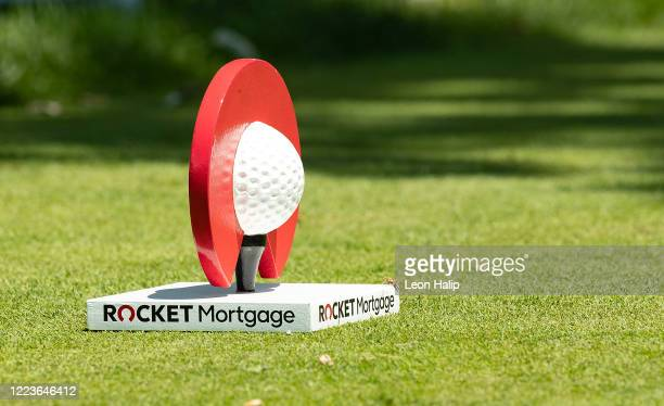 General view of the Rocket Mortgage Classic Tee Marker on the 10th hole at the Detroit Golf Club during the practice session for the Rocket Mortgage...